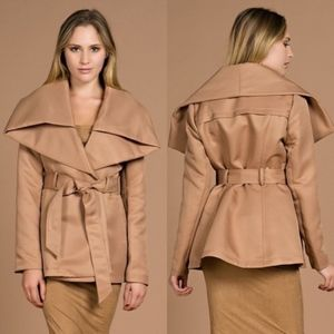 Hot & Delicious Large Collar Camel Trench Coat